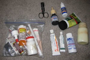 First Aid Kit packed and items for liquids bag