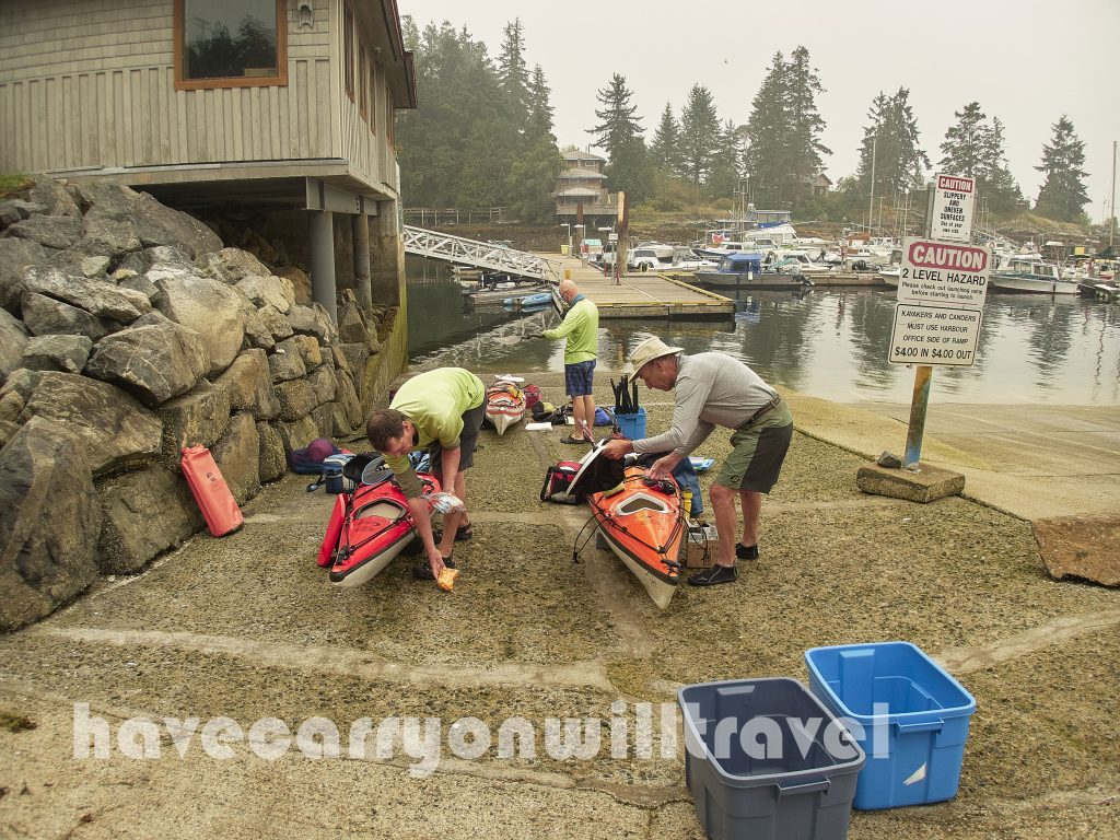 Loading kayaks at the Lund boat launch